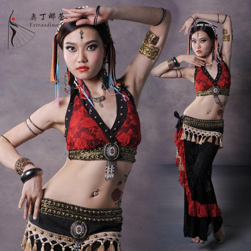 Belly Dance Costume Profesionální taneční utěrka Belly Dance Tribe Costumes Oblečení Sada kostýmů pro břišní tanec