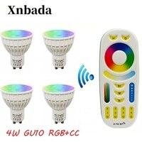 2.4G Led Lamp Gu10 4W led bulb, RGB+CCT(RGB+WarmWhite+White) Led Spotlight light Dimmable MiLight Led light Free shipping