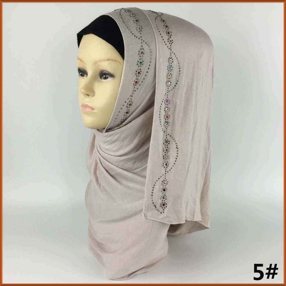Новинка 2017 года красивые Камни полиэстер Исламской Джерси с разноцветными стразами Хиджаб Арабский никаб шарф Шарфы для женщин Тюрбан Хиджаб can70