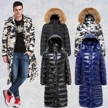 В 2015 году в нового человека более зиму пуховик длинный тяжелая волосы воротник камуфляж блестящие перья пальто бесплатная доставка