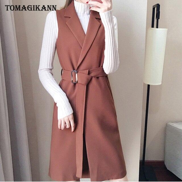 Women Blazer Long Vest Tops 2019 Spring Korean Solid Waist Belt Suit Waistcoat Ladies Fashion Sleeveless Gilet femme colete
