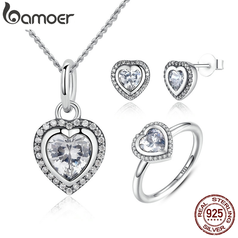 BAMOER 925 Sterling Silver Jewelry Set Sparkling Love Heart Jewelry Sets Wedding Engagement Jewelry Mothers Day Gift ZHS009BAMOER 925 Sterling Silver Jewelry Set Sparkling Love Heart Jewelry Sets Wedding Engagement Jewelry Mothers Day Gift ZHS009