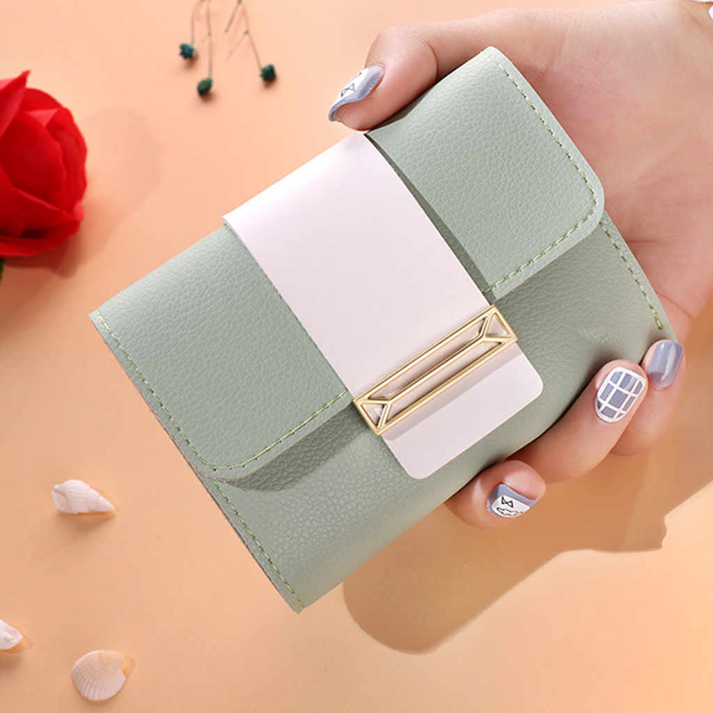Women Short Style Leisure Contrast Color Small Fresh Coin Purse Card Holder Bag ##418
