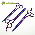 "univinlions 7"" titanium purple curved scissors pet grooming scissors dog cat hair clippers animal clippers dog hair cutting tool"