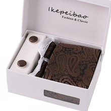 For Man Silver w Gift box Necktie + Handkerchief + Cuff links + Ties
