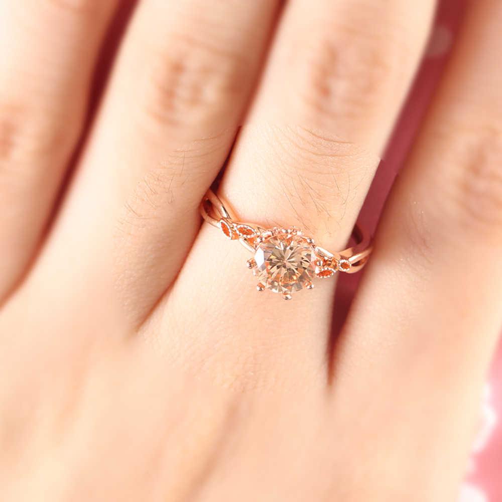 6635266e0622 BOAKO moda anillo de compromiso Rosa hoja de oro Vintage CZ anillos de boda  de cristal
