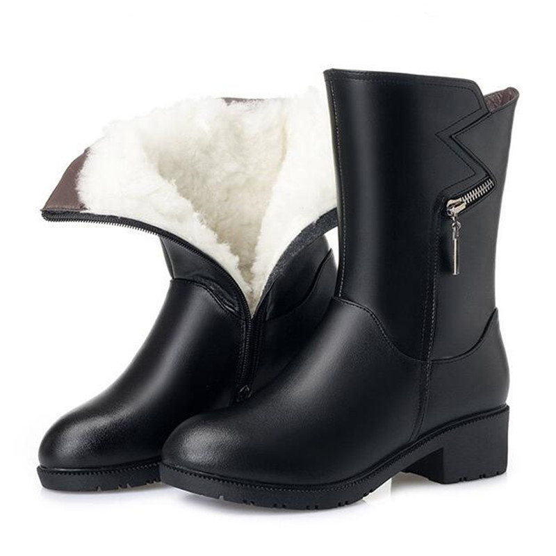 2018 New Winter Boots Women Shoes Fashion Cow Leather Boots Large Size Warm Wool Women Boots Non-slip Comfort Martin Boots2018 New Winter Boots Women Shoes Fashion Cow Leather Boots Large Size Warm Wool Women Boots Non-slip Comfort Martin Boots