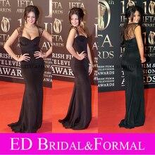 Michelle Keegan Berühmtheits-roter Teppich Kleid Flügelärmeln Liebsten Schwarz Satin Prom Formal Abendkleid