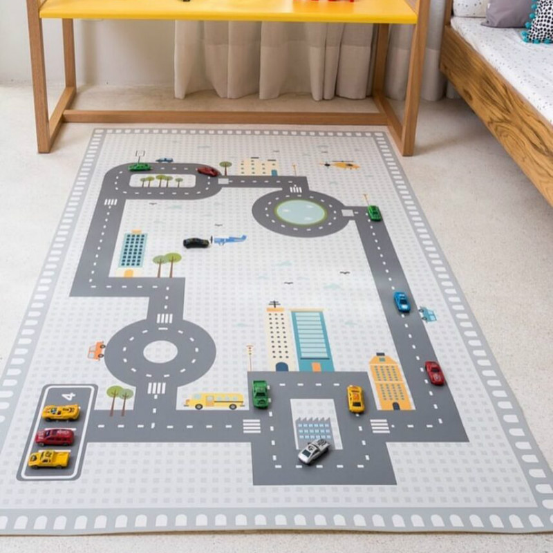 Us 31 42 Off Nordic Baby Crawling Rug Adventure Forest Blanket Rugs Kids Play Mats Road Track Gym Mat Floor Carpet S Room Decor In