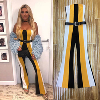2018 Jumpsuits For Women Boot Cut Striped Strapless Sleeveless Bodycon Celebrity Party Jumpsuit Womens Rompers Overalls Dropship