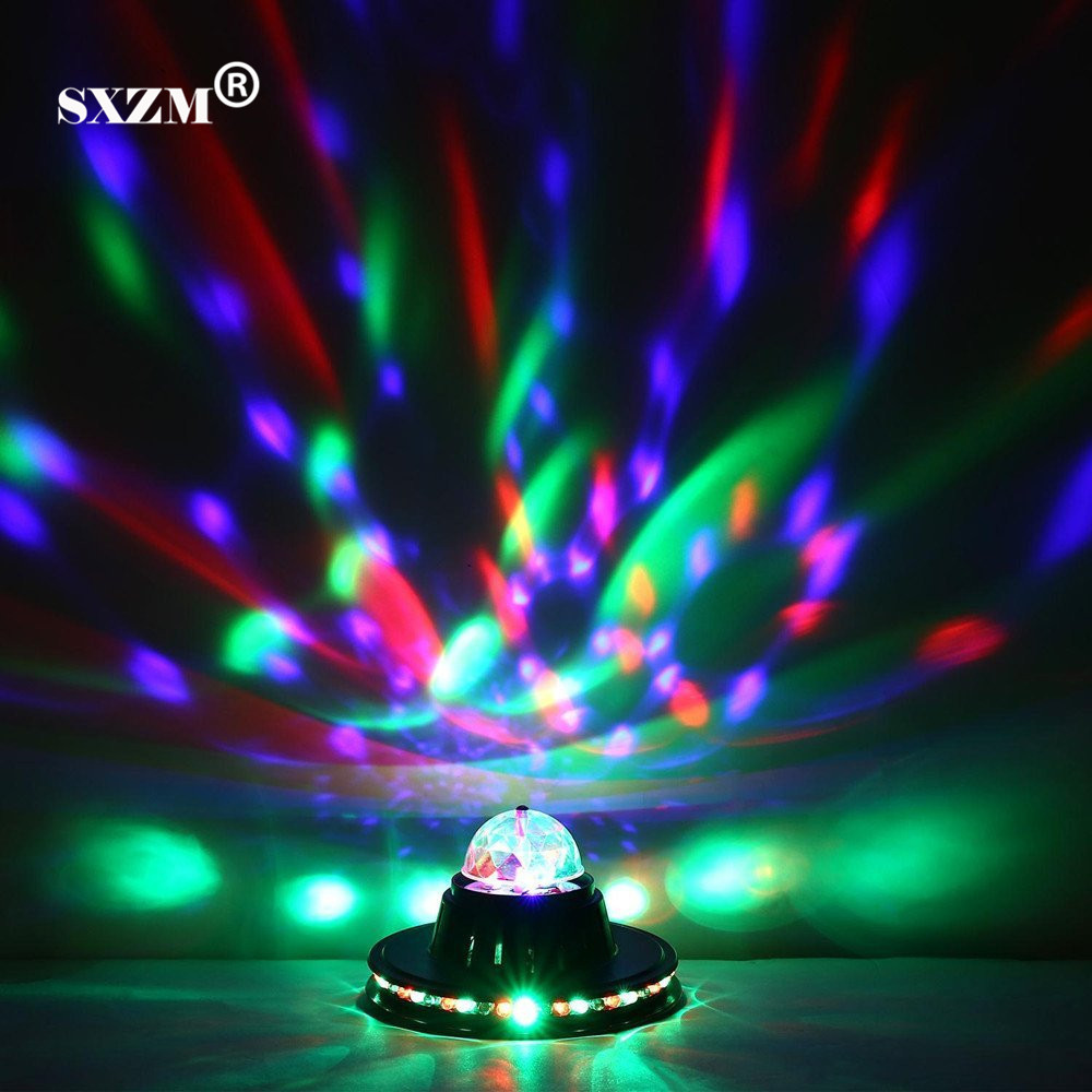 SXZM 3W Multi LED Portable Stage DJ Light Auto Rotating Bulb with EU plug for Home Party Bar Club Holiday Show changing Color rg mini 3 lens 24 patterns led laser projector stage lighting effect 3w blue for dj disco party club laser