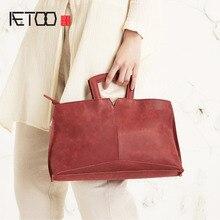 AETOO High – end handmade leather handbags comfortable cowhide wild casual handbag shoulder bag Messenger bag