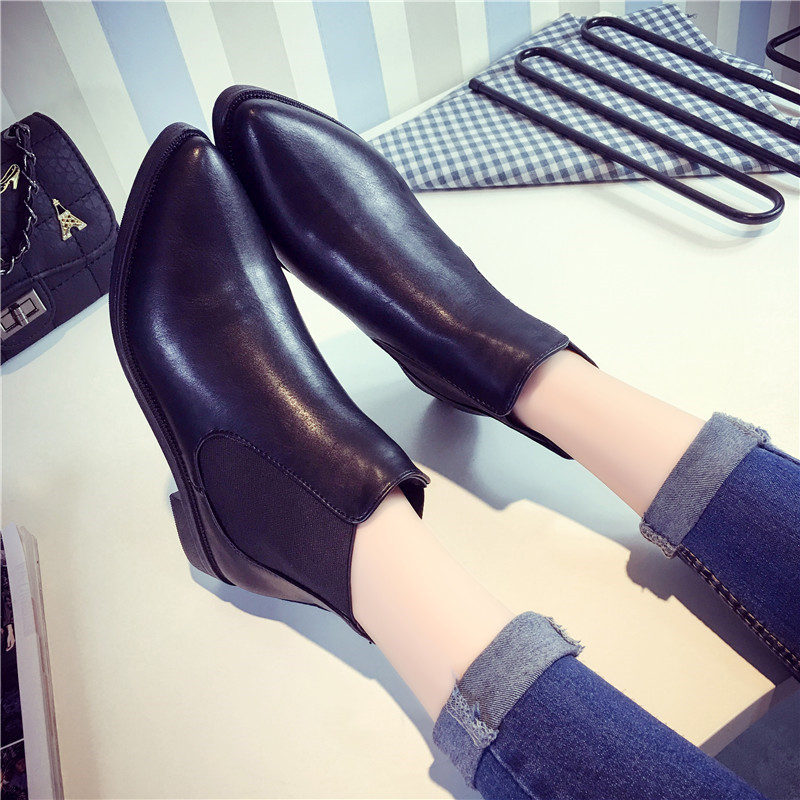 COOTELILI Boots Flat-Heels Black Women Pointed-Toe Girls Ankle for Casual