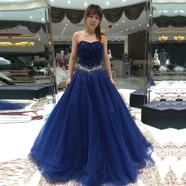 f77c22db690 Blue a line beading prom dress glamorous evening dresses strapless pleated  Floor Length Sweetheart Tulle Prom