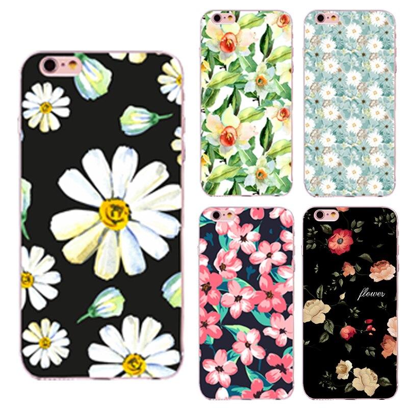 Flores de colores pintado teléfono case para iphone 5 5s se 6 6 s 7 plus 4 4S 6