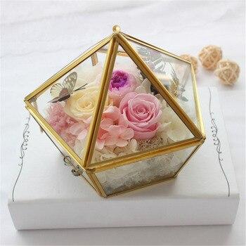Geométrica nórdico Sala de Flor De Vidro Transparente de Vidro Caixa Do Anel De Casamento Anel de Caixa de Jóias Tampa De Vidro Inovador Home Decor