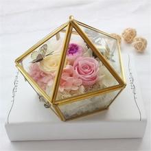 Nordic Geometric Transparent Glass Flower Room Ring Box Wedding Jewelry Cover Innovative Home Decor