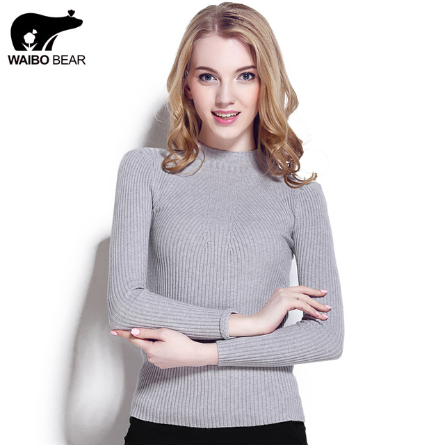 WAIBO BEAR New 2016 Cashmere Sweater Women Spring Cashmere Pullovers Long Sleeve half turtleneck sweater Slim Knitwear Jumper