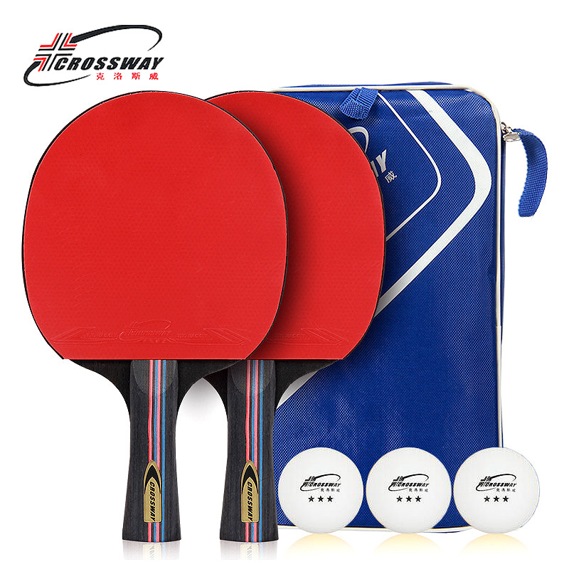 CROSSWAY Table Tennis Racket Professional Horizontal Double Grip Pimples-in Rubber Ping Pong Table Tennis Blades Case Bag Set