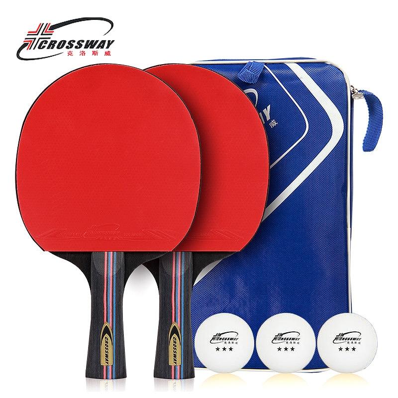 CROSSWAY Raqueta de Tenis de Mesa Profesional Horizontal Agarre Doble Espinillas-en Caucho Ping Pong Juego de Bolsas para Tenis de Mesa Ping Pong