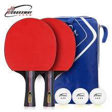 все цены на CROSSWAY Table Tennis Racket Professional Horizontal Double Grip Pimples-in Rubber Ping Pong Table Tennis Blades Case Bag Set онлайн
