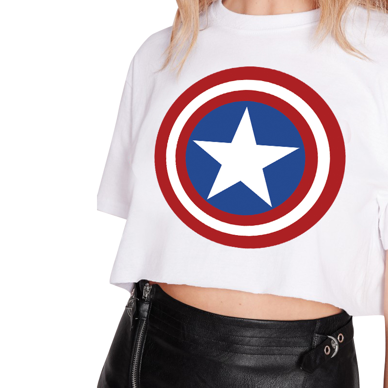 2a02bbb8530efd H590 2016 New Summer Punk Women T Shirt Womens Captain America Logo T shirt  Punk Tee Plus Size Cheap Clothes-in T-Shirts from Women s Clothing on ...