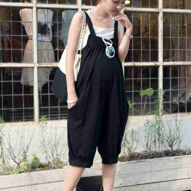 d177fb93270b New summer Loose thin pregnant women Cropped pants maternal jumpsuit black  suspenders overalls trousers care belly