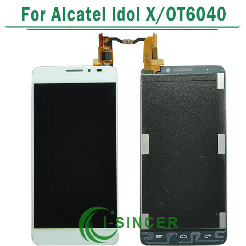 1/PCS Tested White OT6040 LCD FOR Alcatel One Touch Idol X OT6040 6040D 6040E LCD Display Touch Screen Digitizer Assembly
