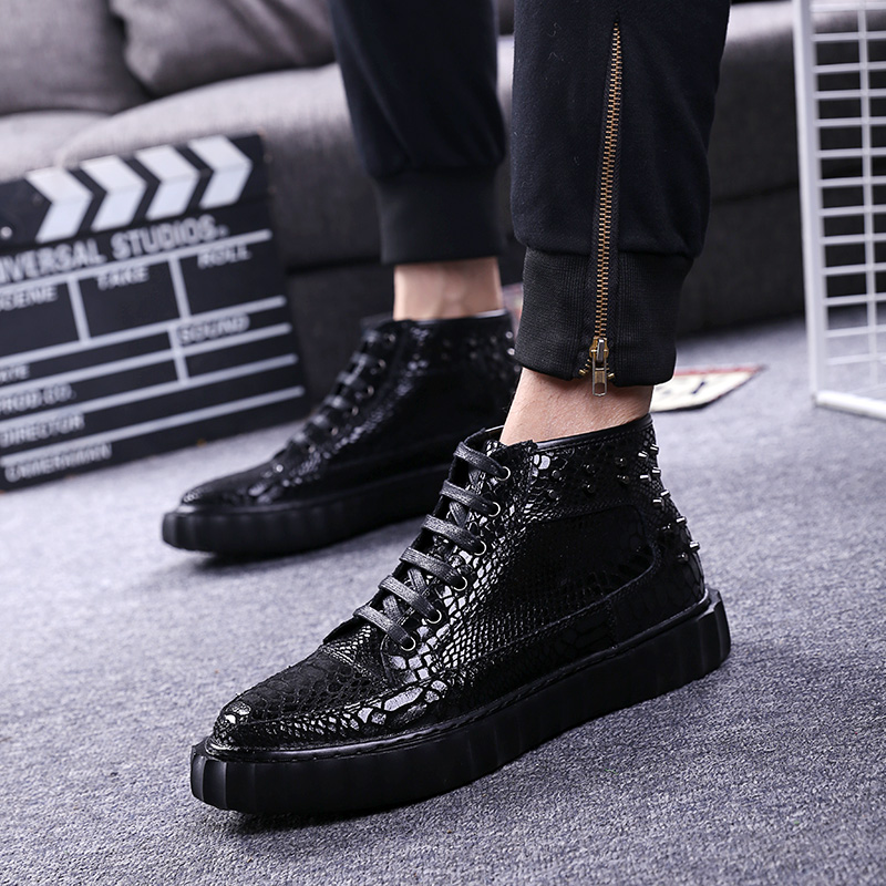 mens leisure breathable banquet prom dresses snake grain rivet shoes flats platform sneakers ankle soft leather boots zapatosmens leisure breathable banquet prom dresses snake grain rivet shoes flats platform sneakers ankle soft leather boots zapatos