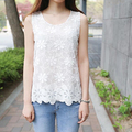 2017 femme summer tops tee shirts Sleeveless lace Chiffon t shirt women white t-shirt woman clothes camisetas femininas big size