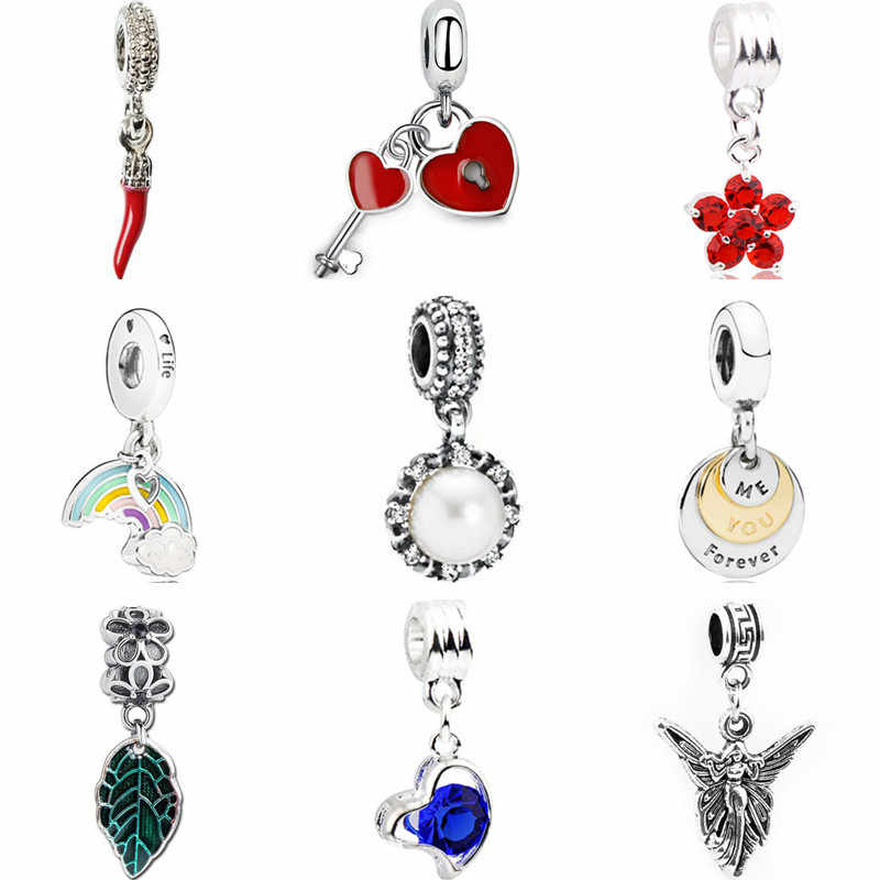 New Fashion Crystal Flower Rainbow Moon Heart Simulated Pearl Beads Fit Pandora Pendant Bracelets for Women DIY Charms Jewelry