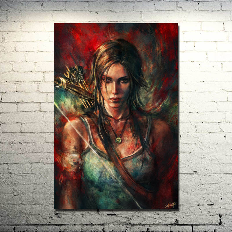 Tomb Raider Lara Croft Game Art Silk Poster Cetak 13x20 24x36 inciTourniquet Render picture For Living Room Decor 02-07