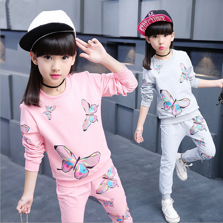 2017 Girl clothing new spring & autumn children hoodies & pants Twinset kids casual sports suit Girls clothing sets & tracksuits