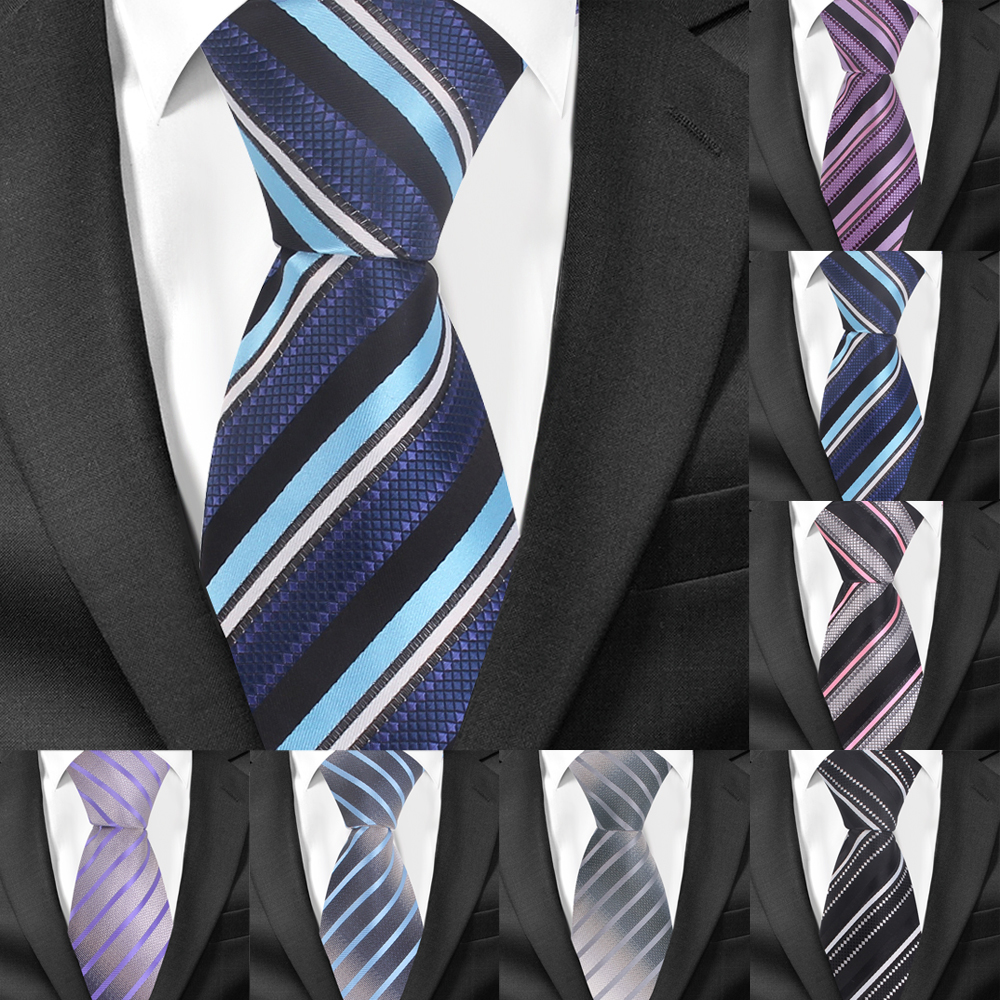 NEW  Striped Silk Ties Neckties For Men Jacquard Woven Mens Tie  8cm Width Business Party Suits Neck Tie