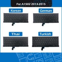 Full New Laptop keyboard Korean German Thai Turkish Layout For Macbook Pro 13″ A1502 Replacement Keyboard 2013-2015 Year