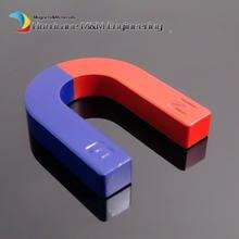 2 stücke Spielzeug Experiment Magnet U Typ 65x55x12mm Hufeisen blau rot/Spielzeug magnet Magnetische lehre Werkzeug Ferrit