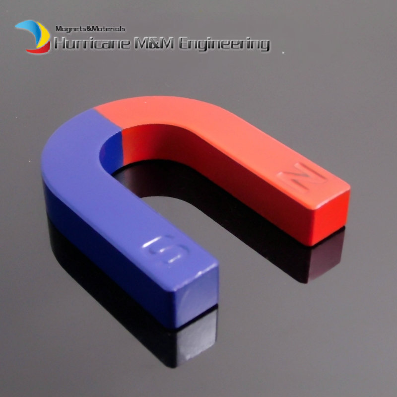 2pcs Toy Experiment Magnet U Type 65x55x12 mm Horseshoe blue red / Toy magnet Magnetic Teaching Tool Ferrite 2pcs magnet for education science experiment horseshoe magnets u teaching