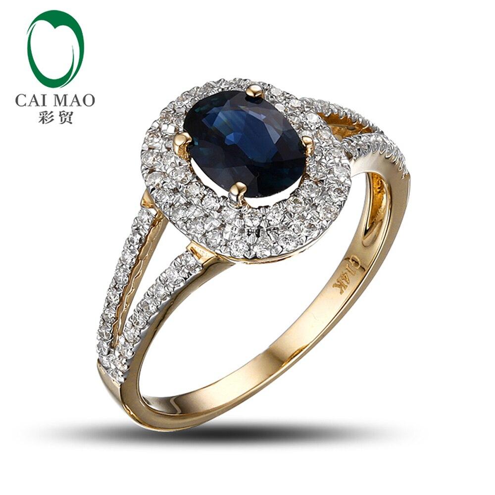 14 К желтого золота 1.02ct темно-синий сапфир алмаз обручальное кольцо Бесплатная доставка