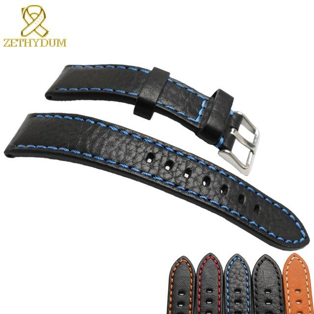 Genuine leather bracelet 20mm 22mm 24mm Italian cowhide watchband mens wristwatc