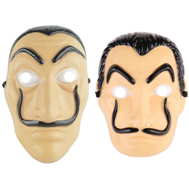 two stlye Dali Mask Halloween Carnival Christmas dali Mask Money Heist The House of Paper La Casa De Papel Mask for Men Women Sa