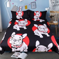 Bulldog Bedding Set Black and Red Quilt Cover with Pillowcases Cartoon Pug Dog Home Textiles for Kids 3 Piece