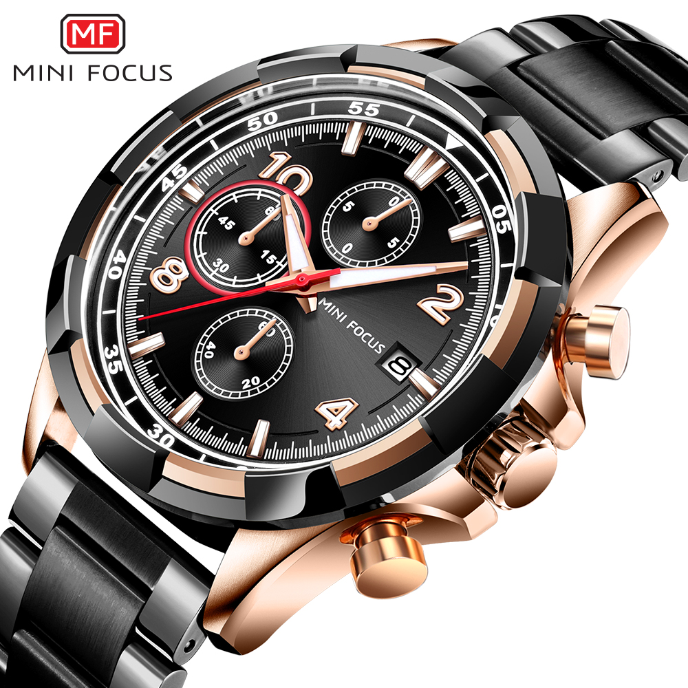 MINI FOCUS Business Mens Watches Quartz Sport Watch Stainless Steel Wristwatch Men Top Brand Luxury Wrist Watch Male Black Clock mini focus top brand men stainless steel quartz watch luxury chronograph wristwatch calendar men sports watches male blue clock