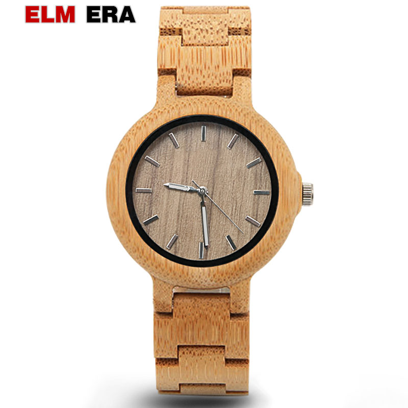 ELMERA Relogio Feminino Wood Watch for Women Stylish Gifts Women Quartz Sports Wooden