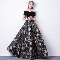 Princesa Black Velvet Boat Neck Vestido De Festa Gold Rose Off The Shoulder Satin A line Formal Evening Dresses Prom Party Gowns