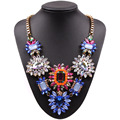 2017 new fashion design gold chain colorful crystal flower pendant statement big chunky necklace for women party jewelry