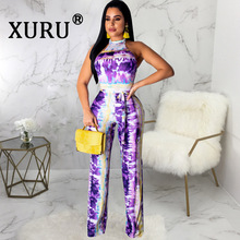 XURU summer new sexy straps jumpsuit fashion digital printing womens hanging neck halter with belt