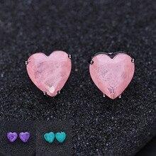 Elegant Fusion Stone Heart Shape Stud Earrings Black Plated Fashion crystal Earrings for Women Jewelry EWX002382