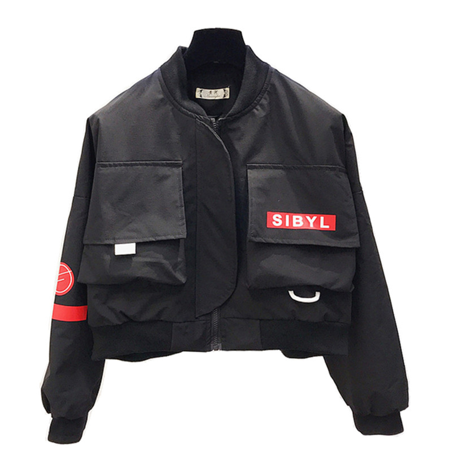 Automne court Bomber veste femmes 2018 noir Streetwear Baseball recadrée veste coréenne Hip Hop Steampunk boléro Outwear 50B0083