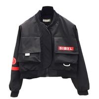 Autumn Short Bomber Jacket Women 2018 Black Streetwear Baseball Cropped Jacket Korean Hip Hop Steampunk Bolero Outwear 50B0083