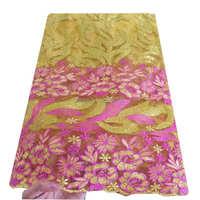 Yellow heavy sequince guipure lace mesh fushia pink wedding dress bridal green high quality nigerian lace fabrics 2017